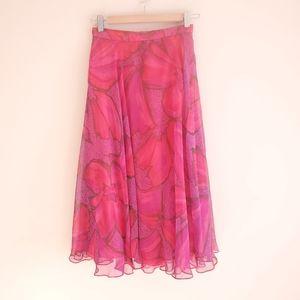 Vintage pink + purple floral midi skirt